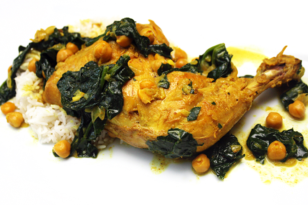 Indian Spiced Chicken Legs with Chick Peas & Spinach | Exploring Food ...