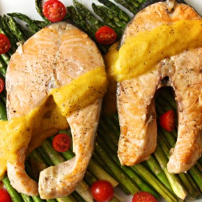 Grilled Salmon with Grilled Asparagus & Curried Butternut Squash Sauce Recipe